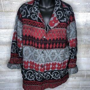 Sag Harbor woman aztec southwest button cardigan